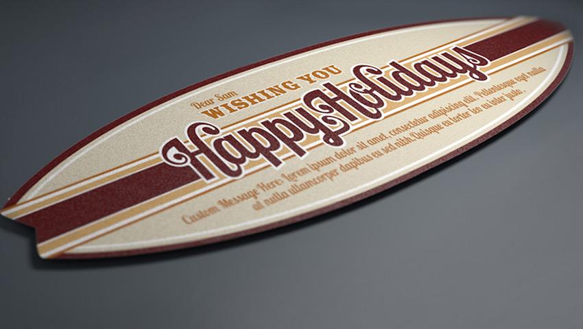 Typographic Card Design - Surfboard Design