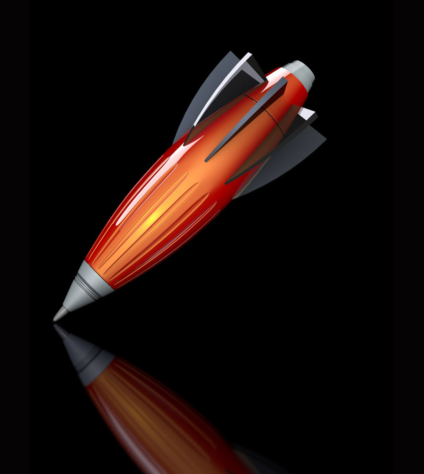 identity_concept_3d_illustration_pen rocket