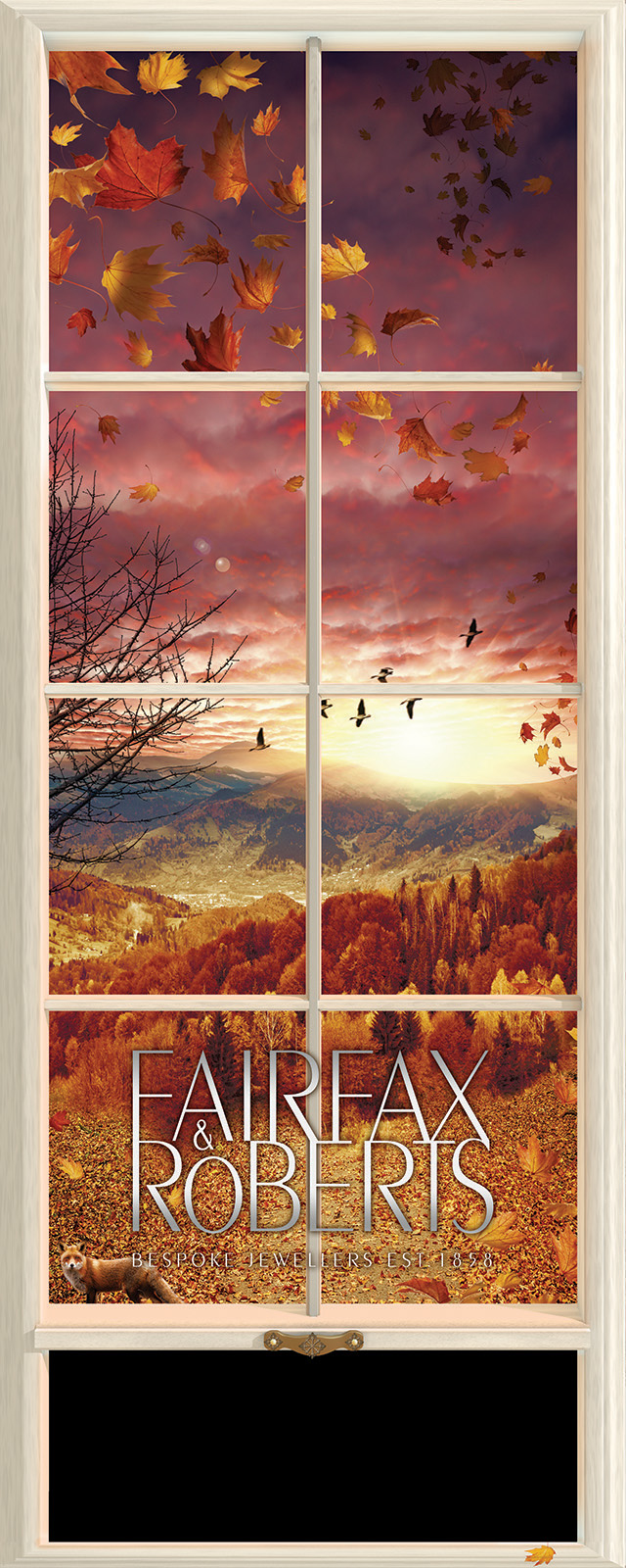 Retail illustration window display design - Autumn