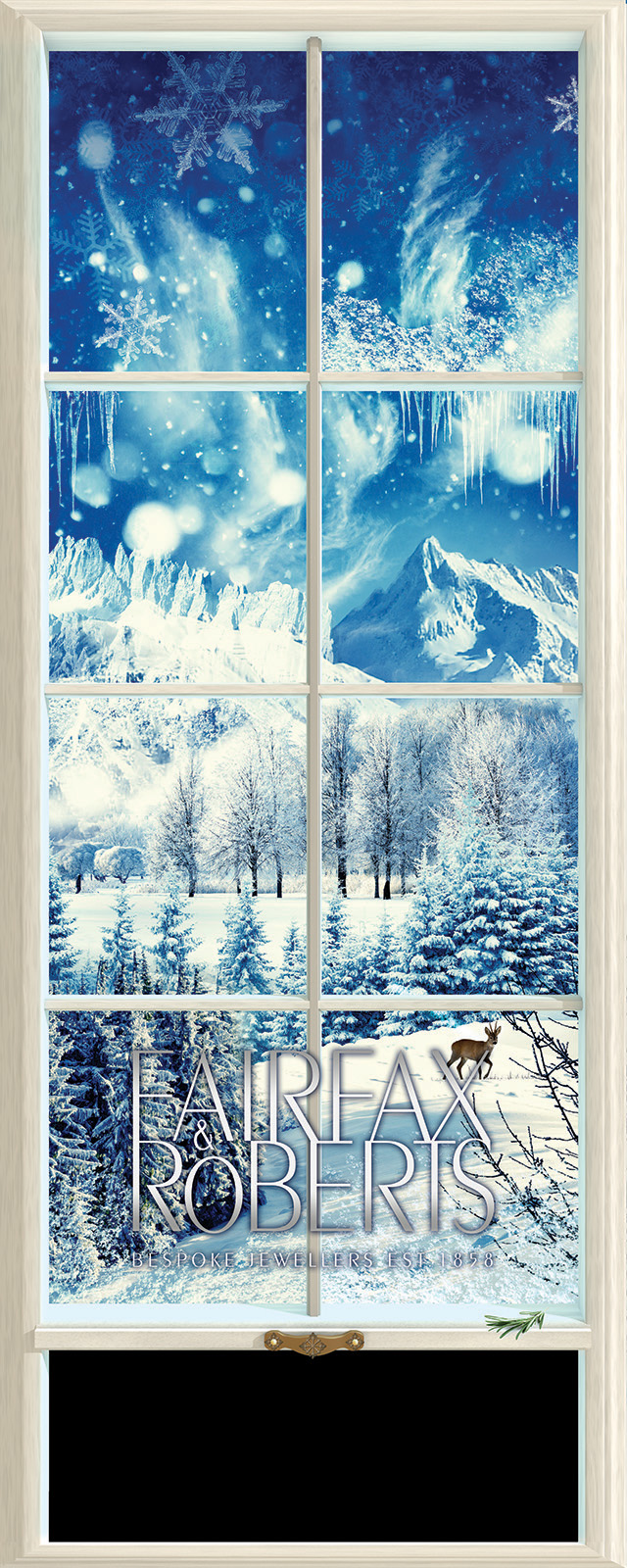 Retail illustration window display design - Winter composition