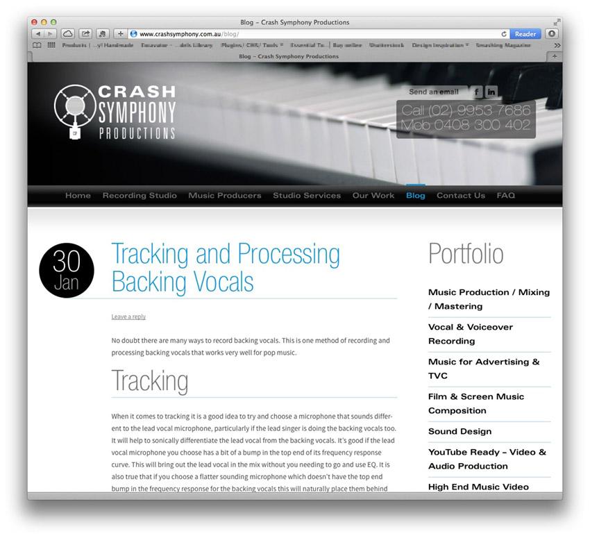 sound studio web design