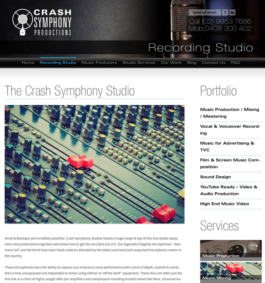 Sound Studio Website Design